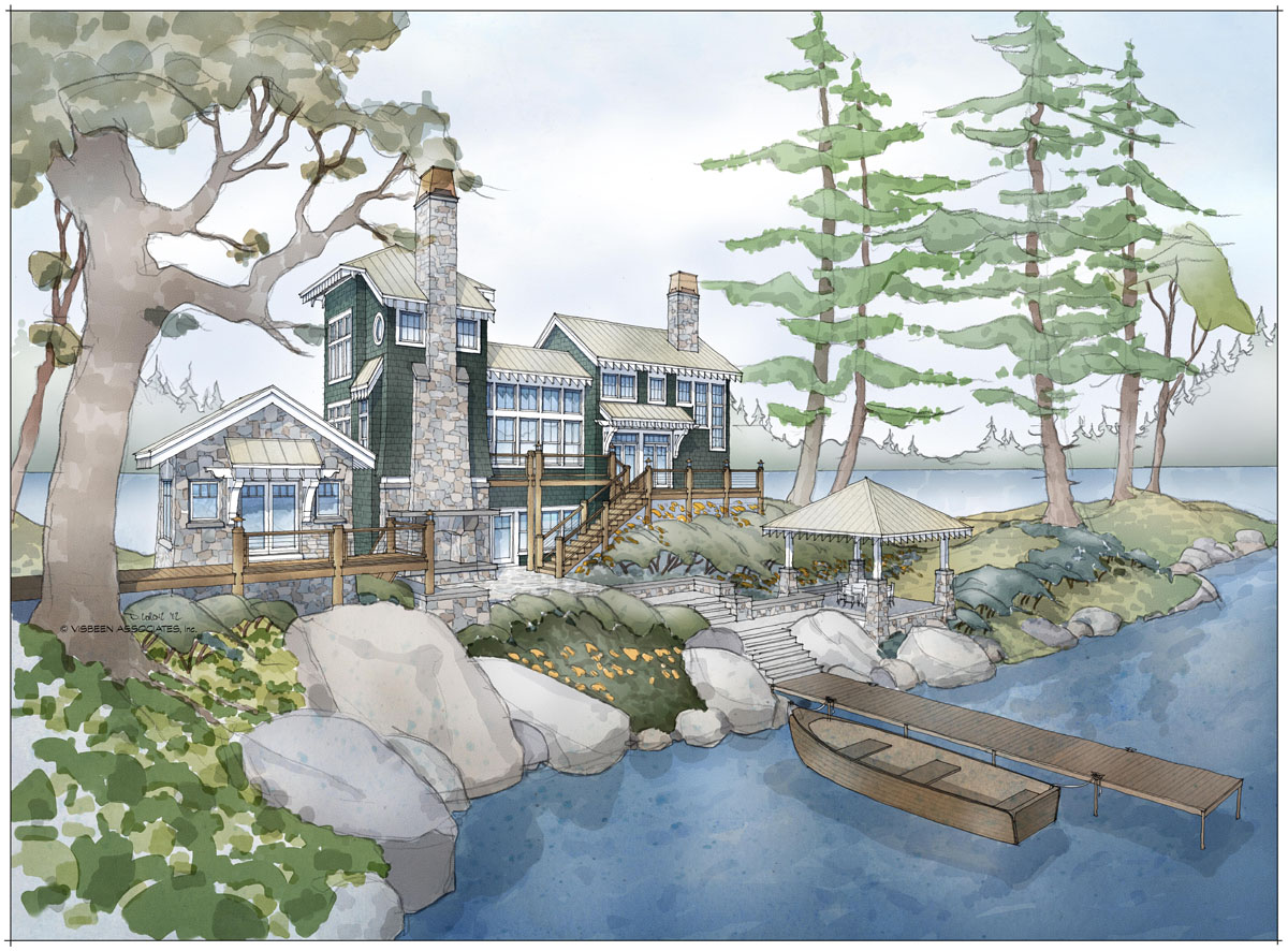 A cabin home plan that maximizes lake views for Visbeen house plans