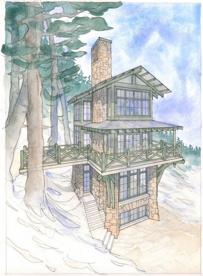 Build up with this home plan for a tower cabin for Build as you go house plans