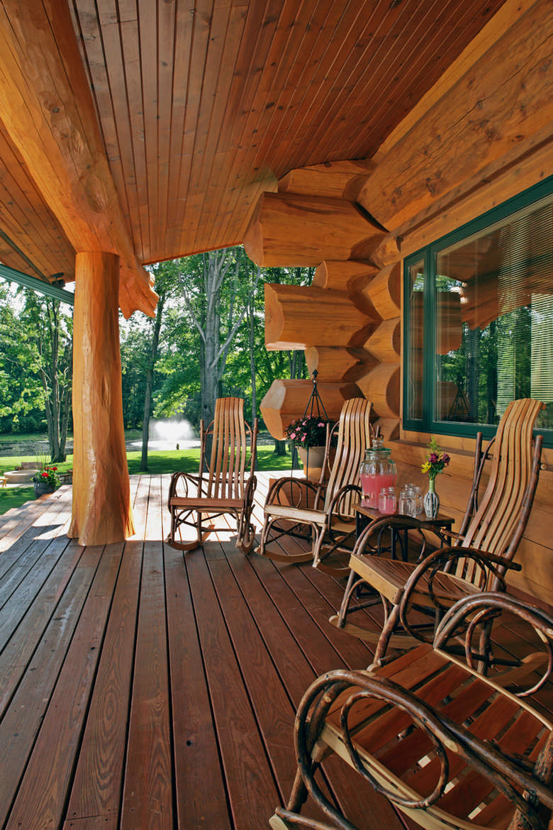 A cabin built for relaxation for Log home decks