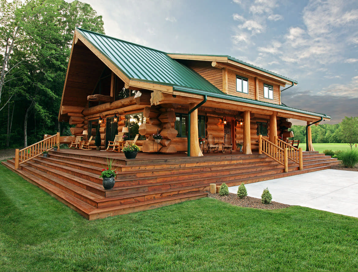A cabin built for relaxation for Log cabin porch