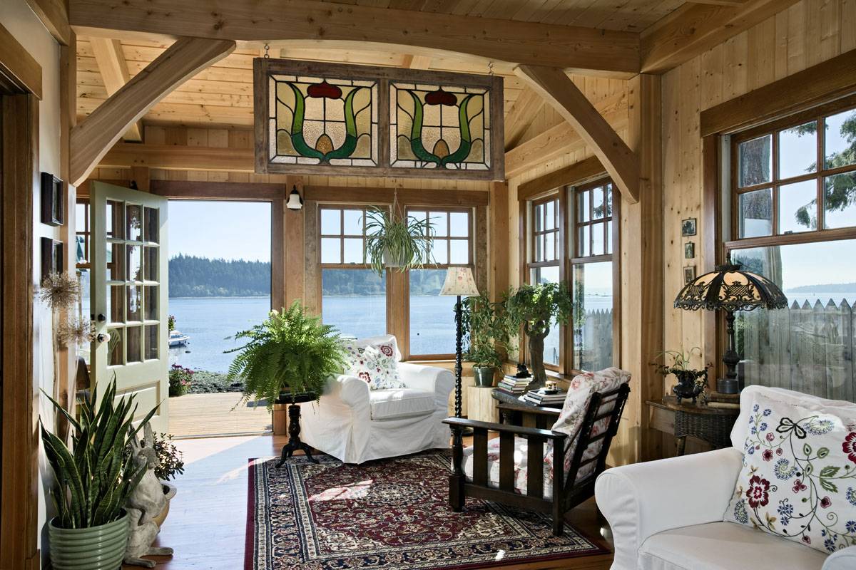 A pacific coast cottage smart cabin design for Log cabin sunroom additions
