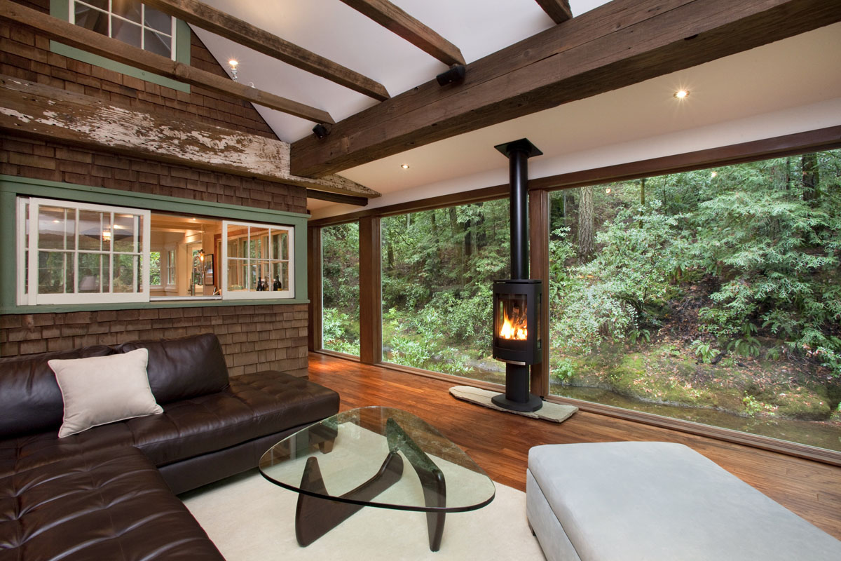 California cabin living room fireplace nature
