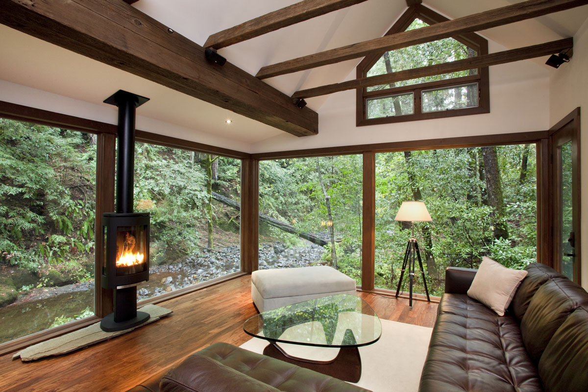 California cabin living room nature forest modern
