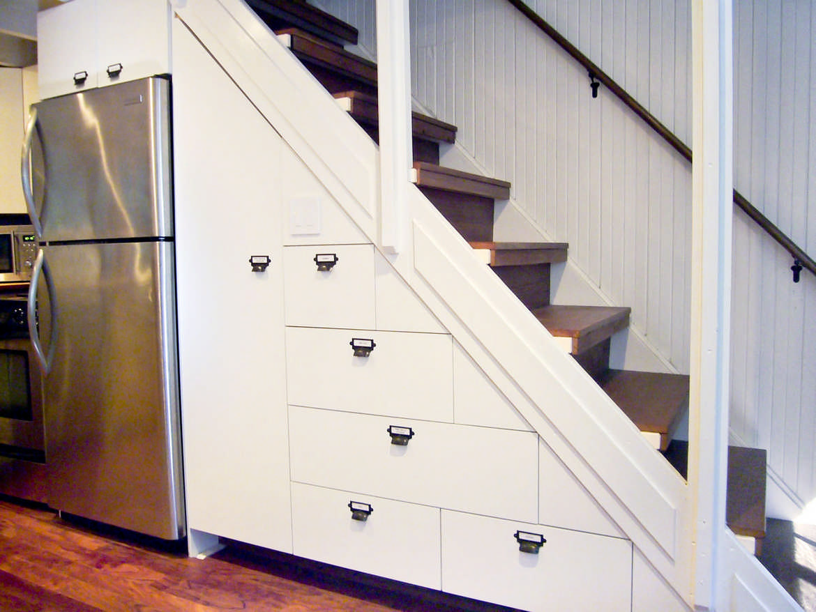 California cabin kitchen staircase drawers