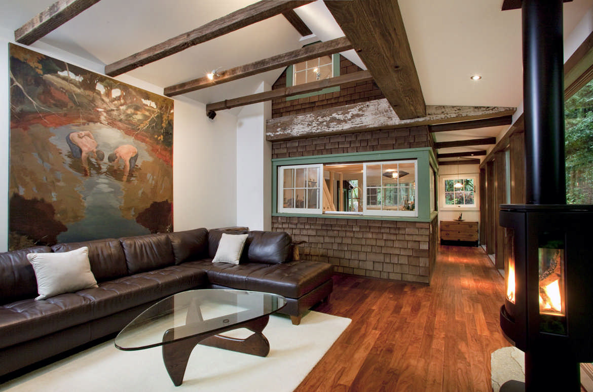 California cabin living room exposed beams