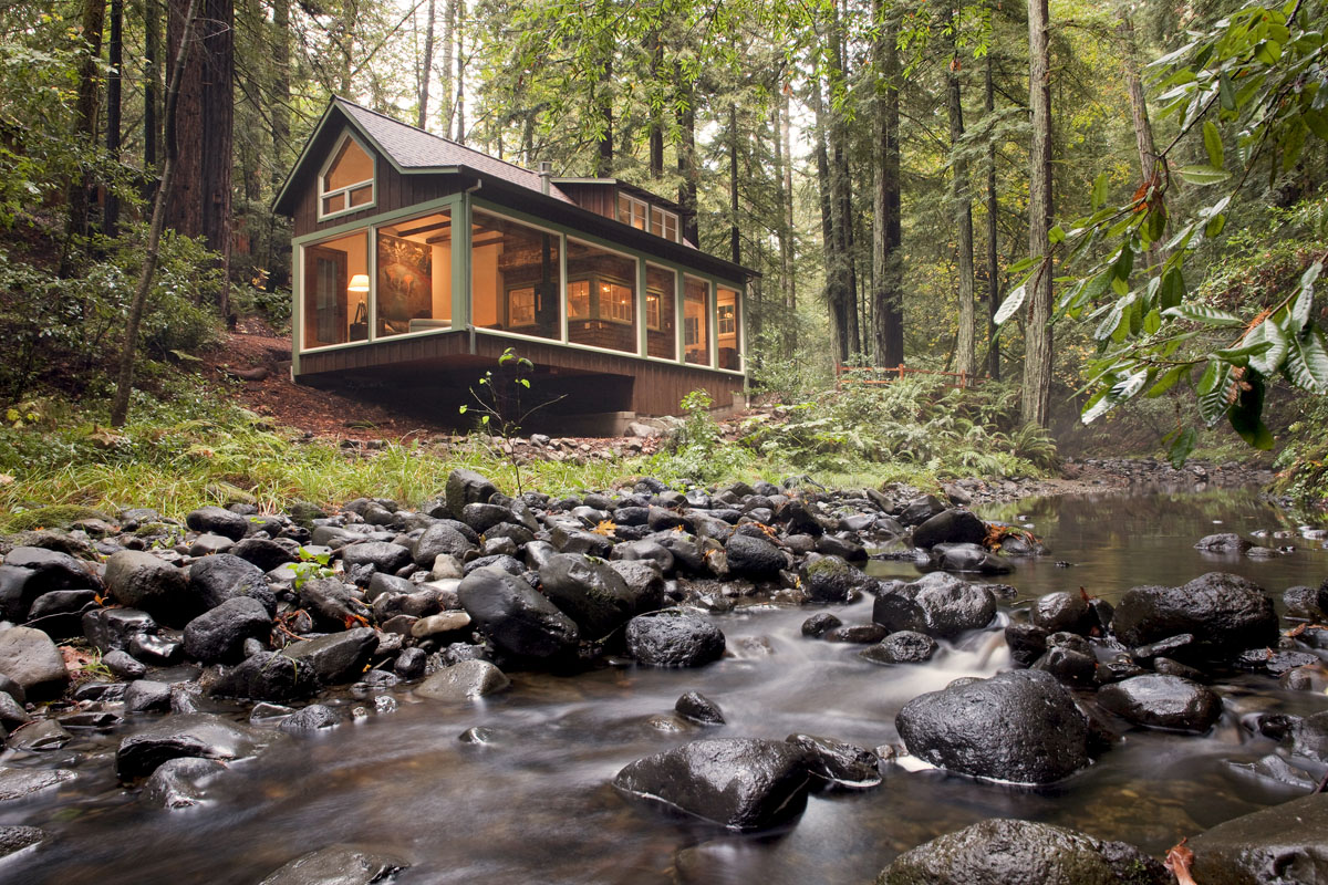 cabin woods forest stream riverside California