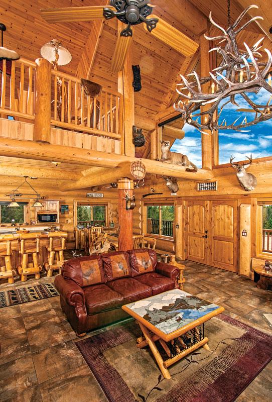 log home great room