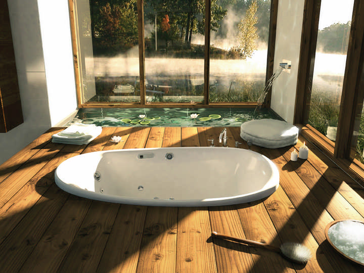 luxury log home bathroom tub
