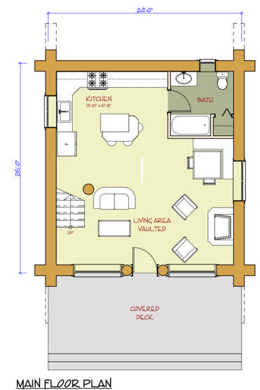 Pioneer Log Homes Show Home Floorplan