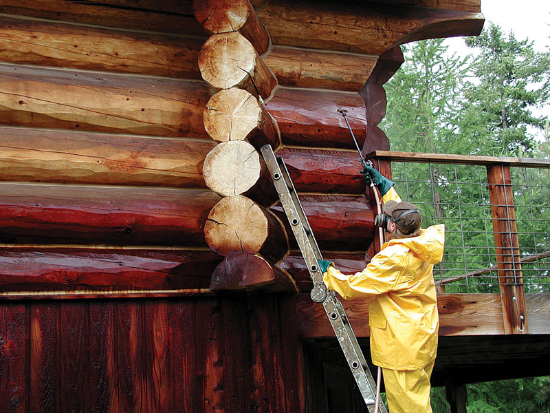 Staining options for your log home for How to stain log cabin