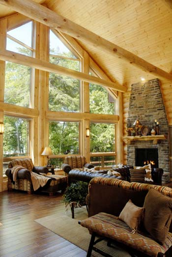 How to re design your log home interior for Great room interior designs