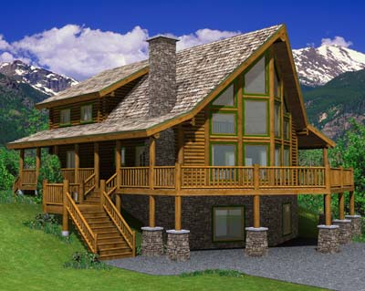 The hillside honorable mention log home floor plan for Hillside home floor plans