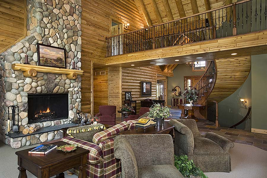 runner up best log home staircase design town country cedar homes. Black Bedroom Furniture Sets. Home Design Ideas