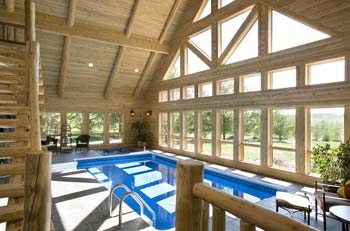 Lakeport lodge windows town country cedar homes - Log cabins with indoor swimming pools ...