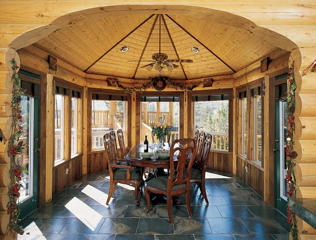 How to design a sunroom for maximum sunlight exposure for Log home sunrooms