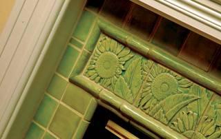 Green hearth tile by Gordon Bryan