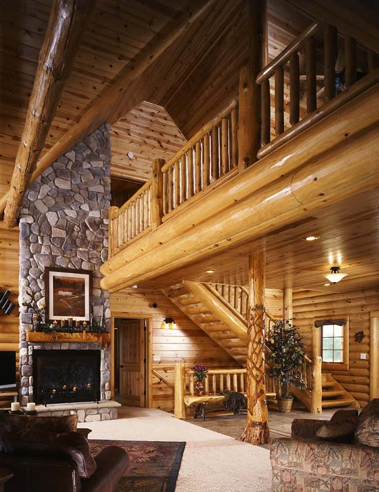 Photos of a modern log cabin golden eagle log homes for Stone log cabin