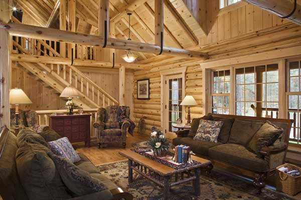 Lakeside Log Home In Minnesota