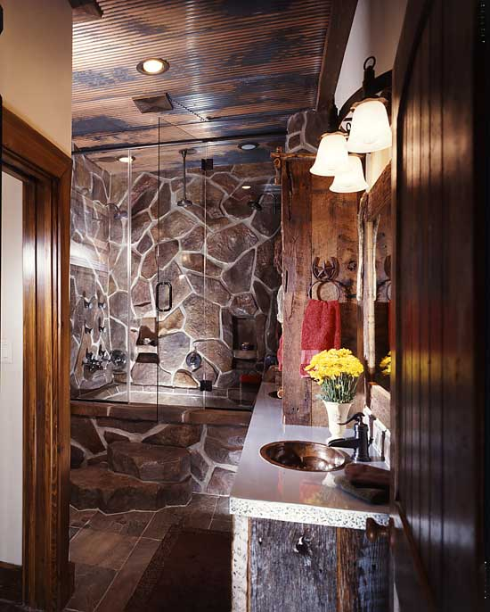 Texas log home master bathroom dark wood