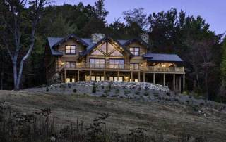 """""""We were very set on getting a handcrafted log home,"""" says Caroline Hickerson of her and husband David's decision to build a weekend retreat on 45 acres near Virginia's Shenandoah National Park. """"We liked the fact that the logs aren't uniform and that they're hand-peeled, and we liked the massiveness of the house. It's just so interesting architecturally."""""""