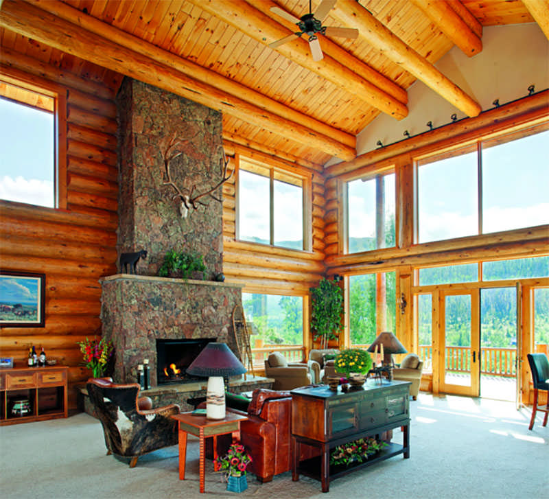 log home great room fireplace windows