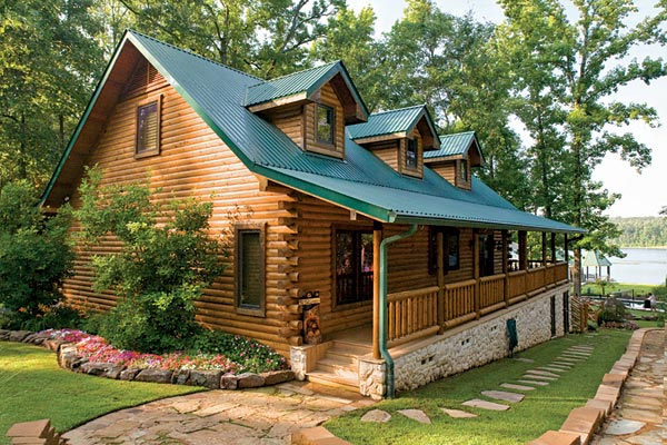 Custom crafted lakefront log home for Log home decks