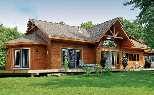 lakeside log cabin exterior