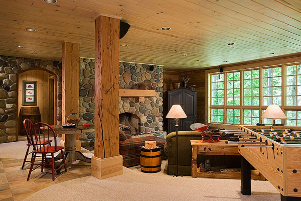 A michigan rustic log home with a ski lodge feel for Log cabin plans with basement