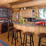 kitchen log home ski chalet