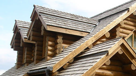 russian style shingles log home