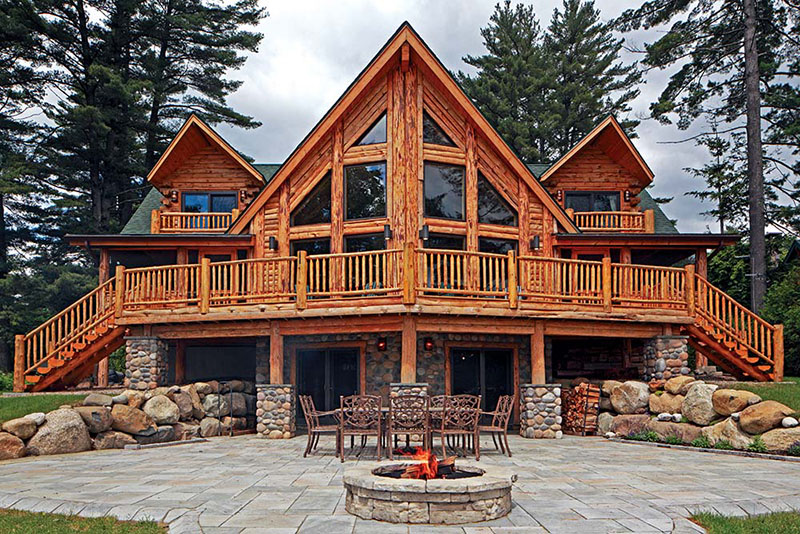 Log home tours for Great american log homes