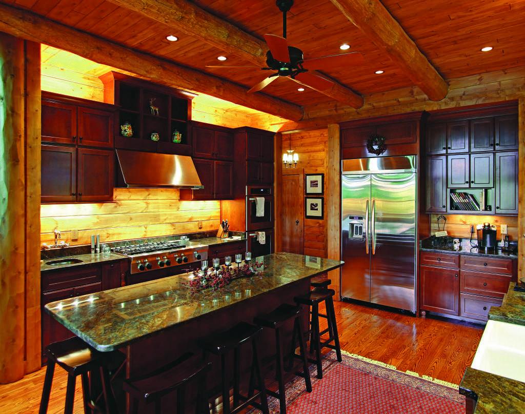 Michigan lakeside log home kitchen
