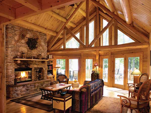stunning log cabin living room | Favorite Small Log Cabins