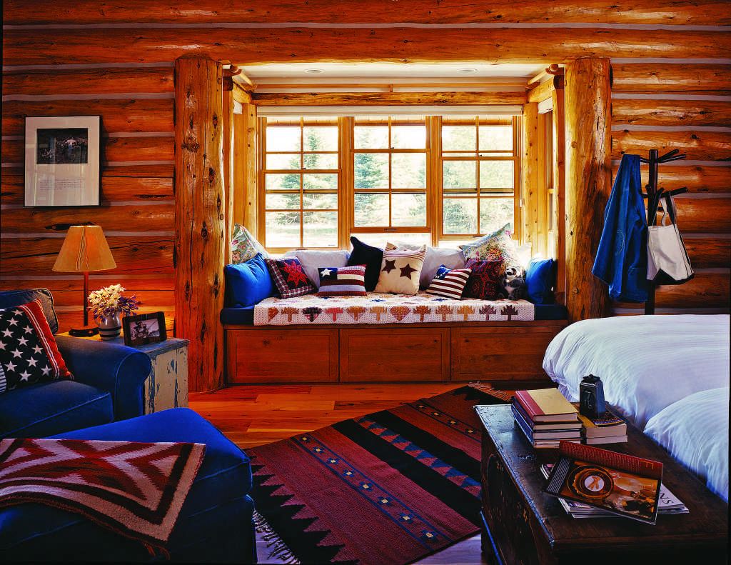 log home reading nook
