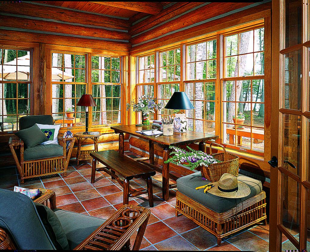 log home sunroom
