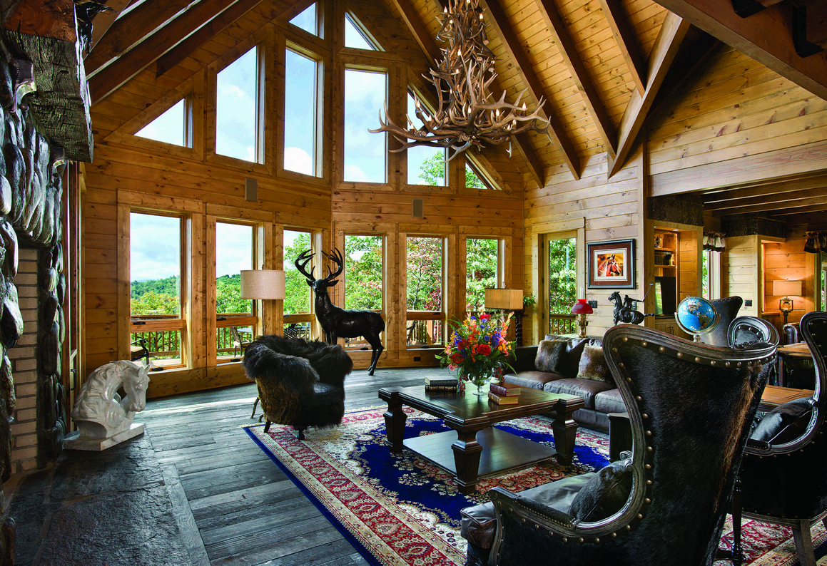 7 more than great log home great rooms for Great room home designs
