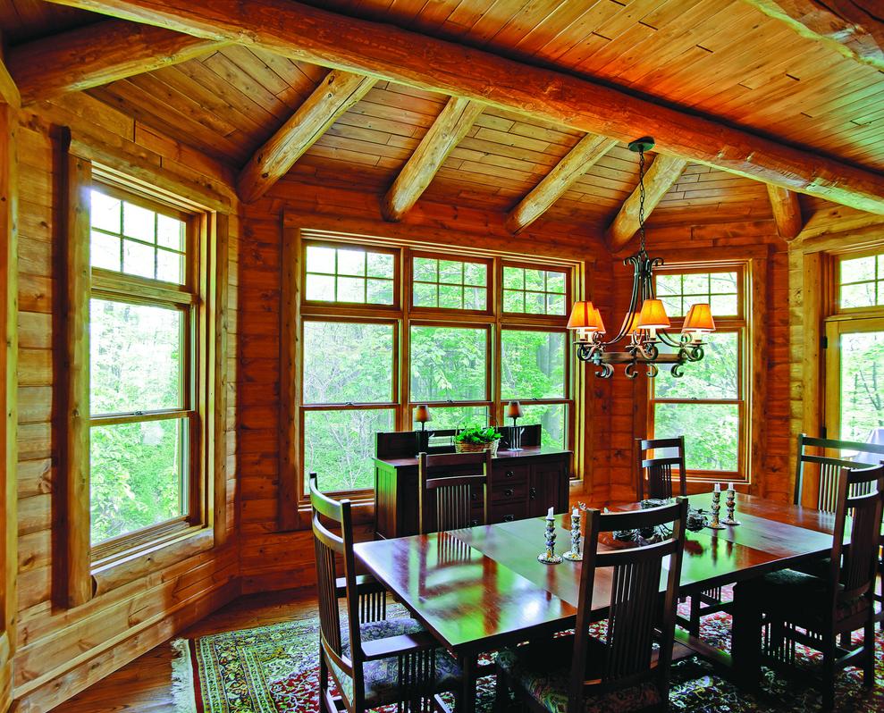lakeside log home dining room