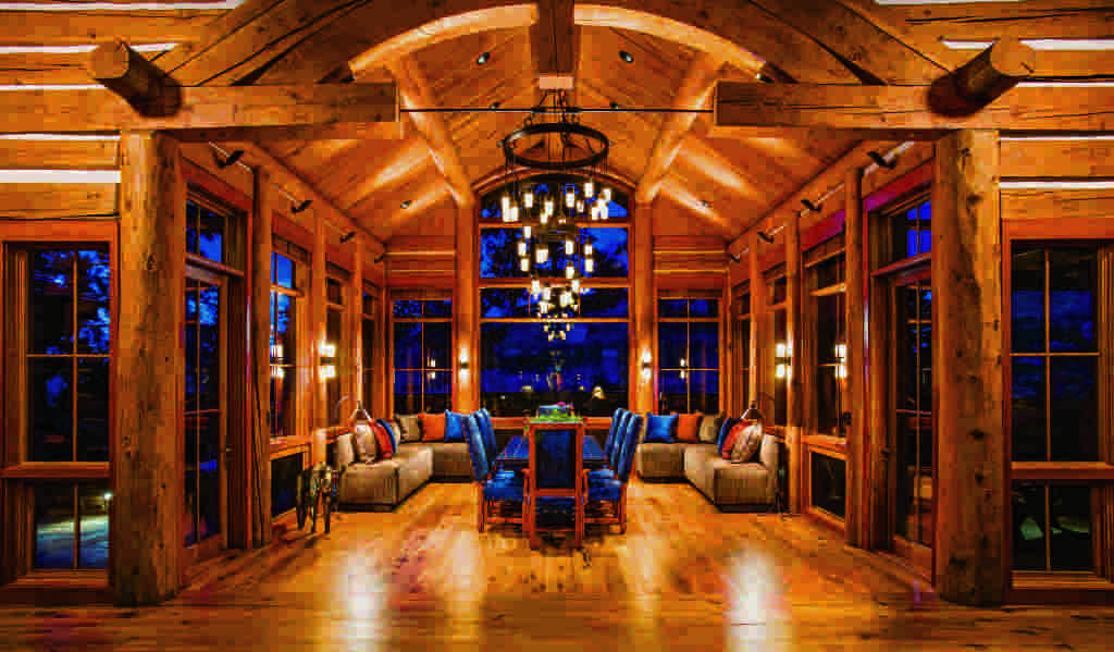 montana log home dining room