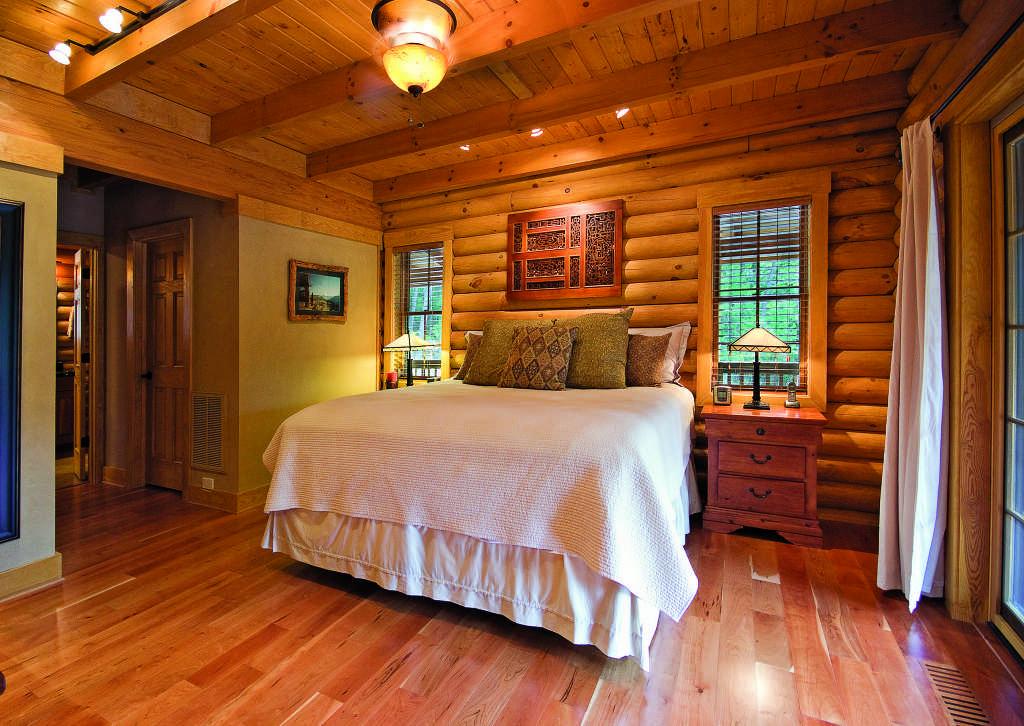 log home bedroom hardwood floors