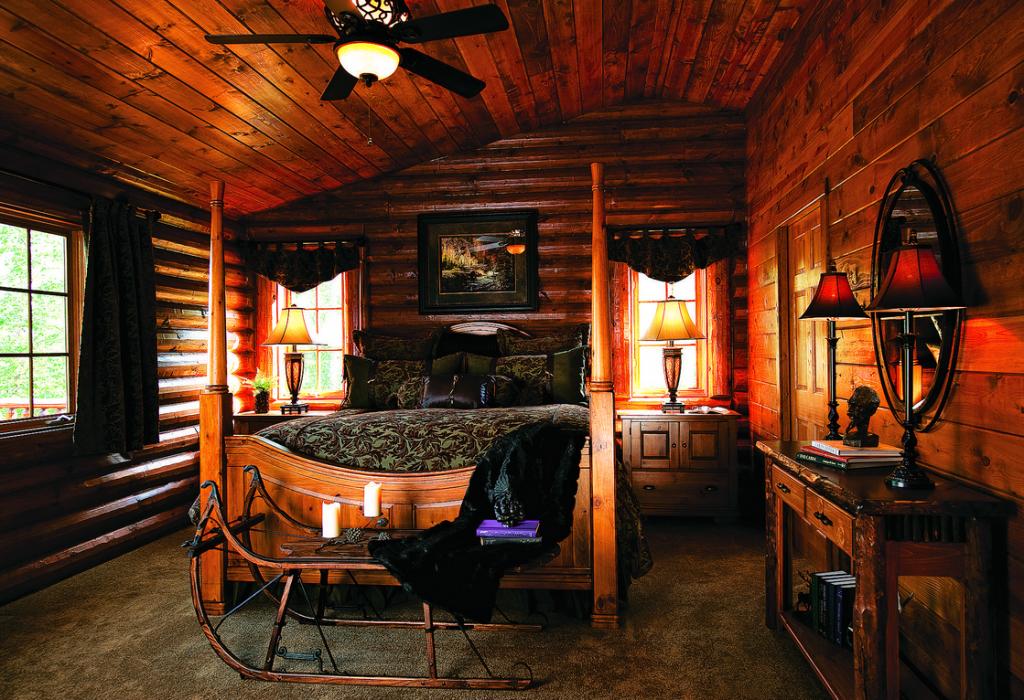 rustic log home bedroom sleigh bed
