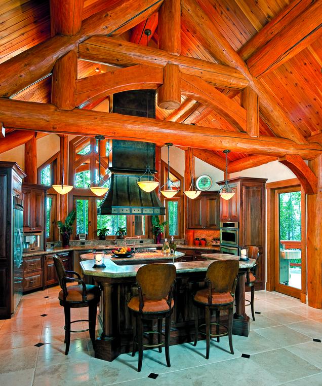 Log Home Kitchens Real Log Style: 6 Inspirational Log Home Kitchens