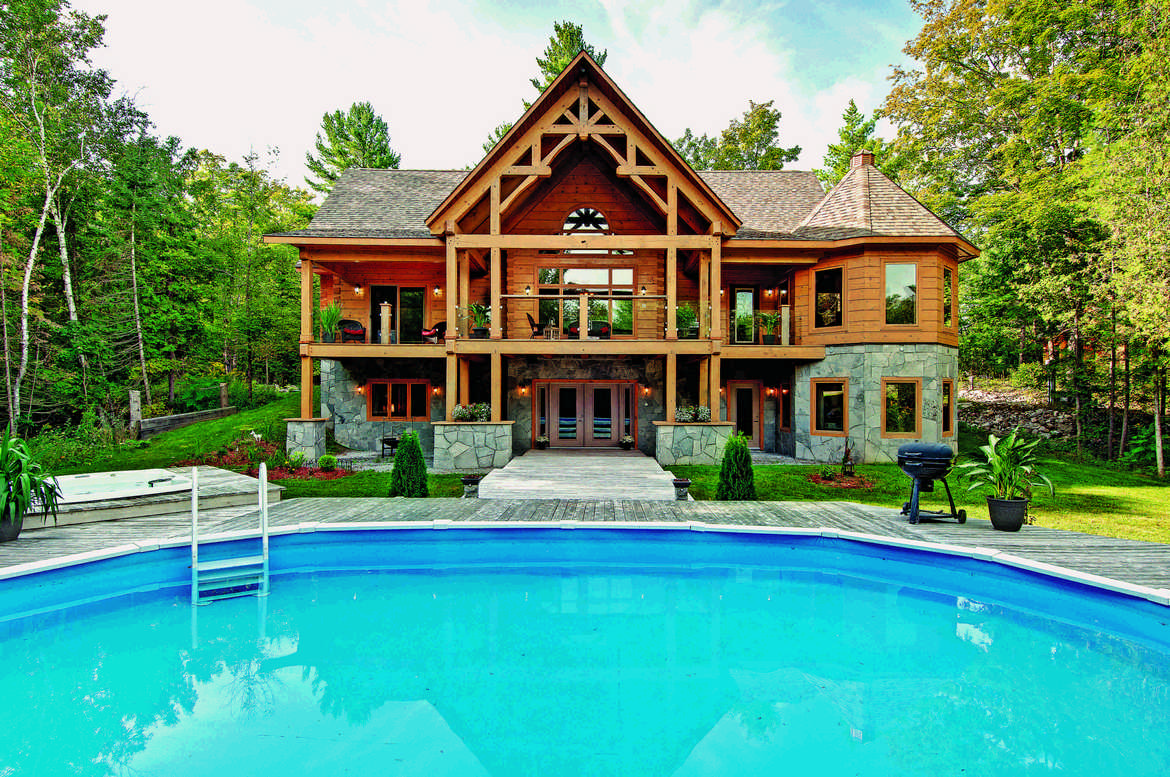 Exterior Poolside with timber covered deck