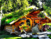 "#7. Dubbed the ""Hobbit Cabin,"" this tiny house is situated on a lake just five miles from town in Talkeetna, Alaska. (We love how the sod roof is covered in Alaskan wildflowers.)"