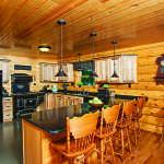 waterfront log home kitchen