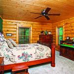 waterfront log home bedroom
