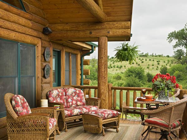 log home porches furniture