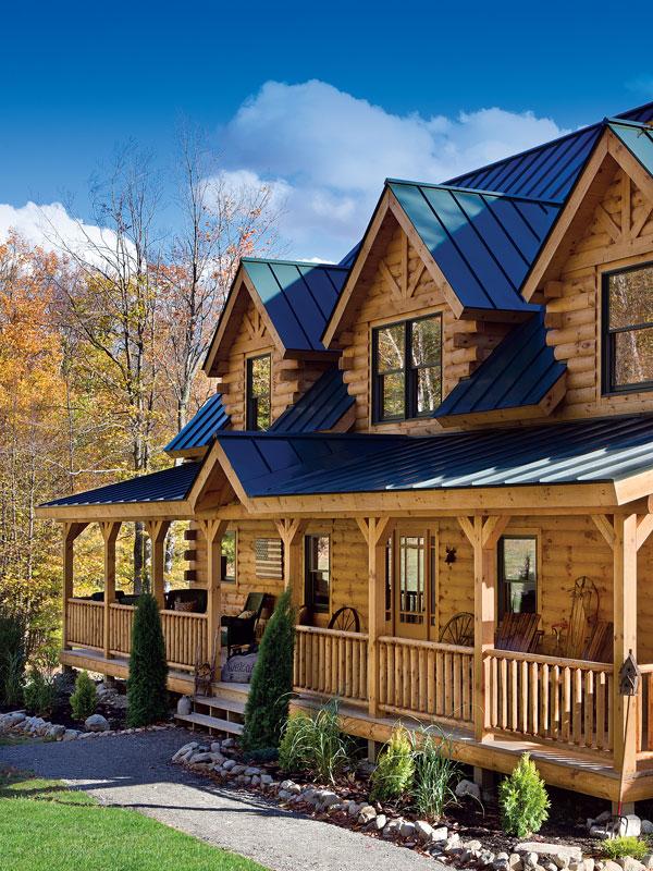 Revising a standard log home floor plan for Log home landscape design