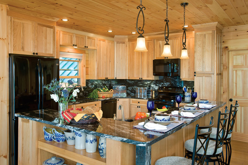 lakeside log home kitchen