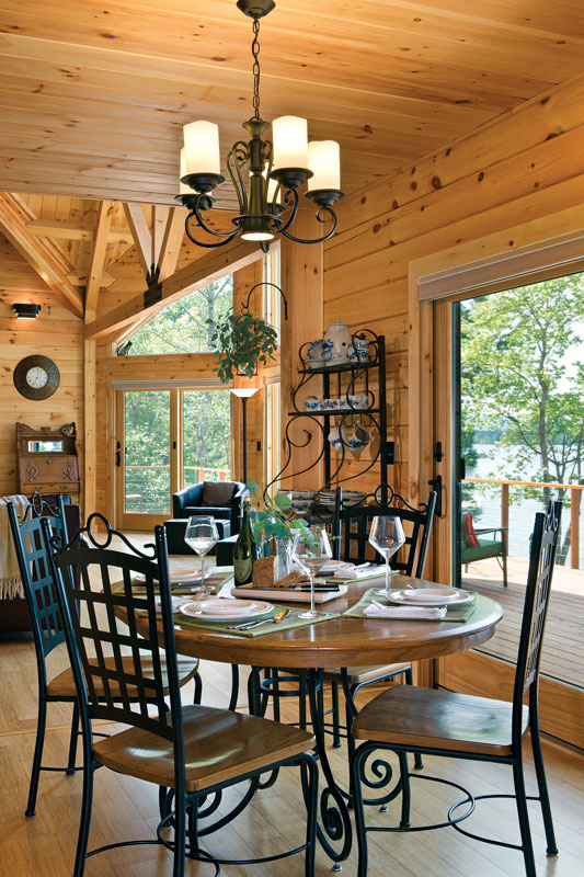 lakeside log home dining area