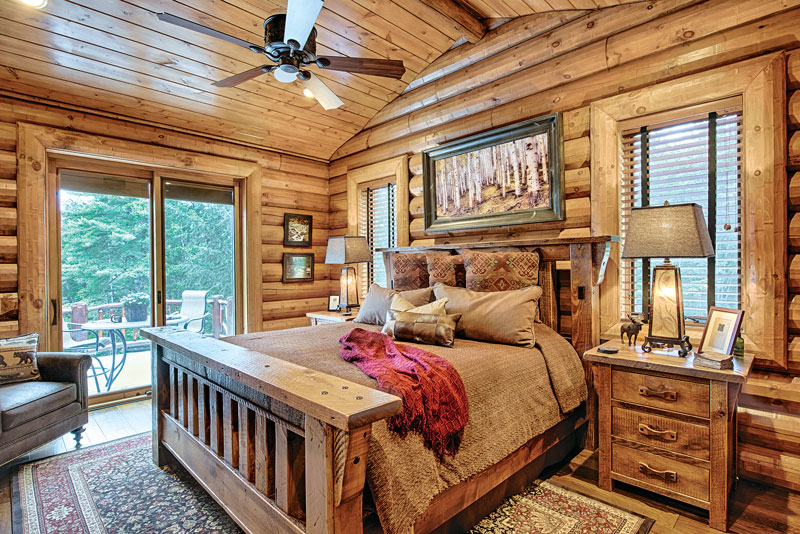 A mountain log home in new hampshire for Log bedrooms